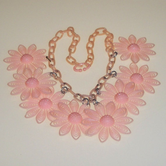 RESERVED FOR OLE Vintage Celluloid Necklace 1930s Art Deco Pink Flowers