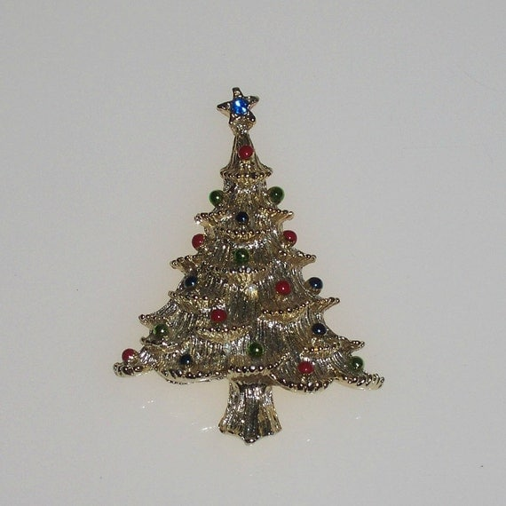 Vintage 1960s Brooch Christmas Tree Pin Blue Rhinestone Signed GERRYS Red Green Blue