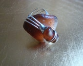Sea Glass Ring, Brown Sea Glass on Fire