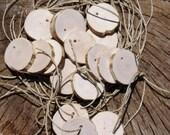 "Wood Tags Gift, Ornament , wedding escort tag , Blank favor FIFTEEN Wood Natural Branch log  1 6/8- 2"" Diameter"