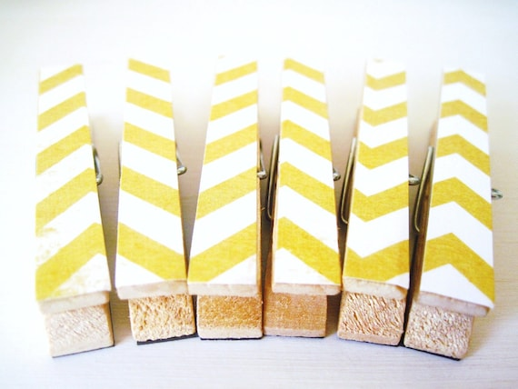 Yellow Chevron Magnets, Chevron Clothespin Magnets