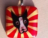 Fused Glass Boston Terrier Starburst Pendant