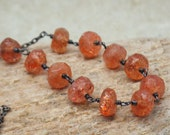 Sunstone and Sterling Silver Necklace - Autumn Leaves - LAST ONE