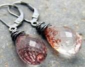 Lepidocrosite and Sterling Silver Earrings - Vampire Tears - AcornAlleyDesigns