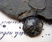 RESERVED - Black Tourmalinated Quartz and Sterling Silver Necklace - Spider Webs - Modern Gothic
