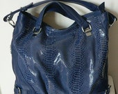 Genuin hand made Leather Bag -- blue