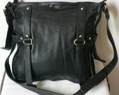 Genuin hand made cross body Leather Bag -- black