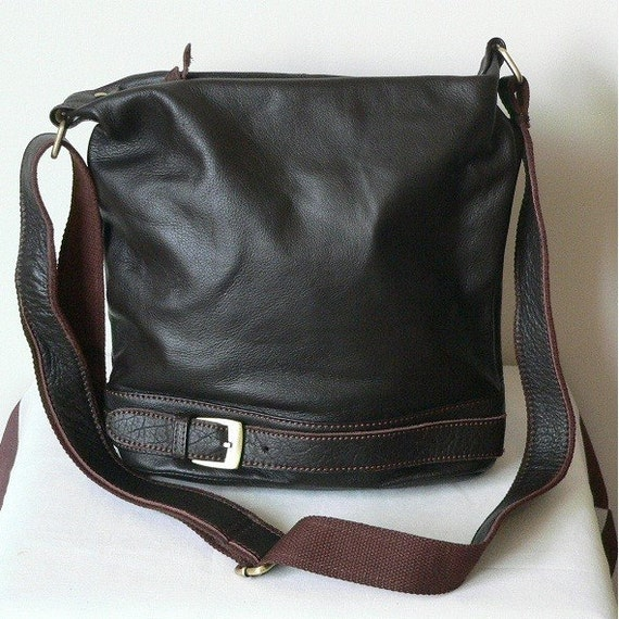 Genuin hand made cross body brown leather bag