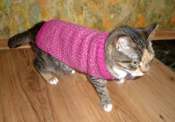 Hand Knitted Patterns For Dog And Cats Coats : Hand knitted dog/cat coat/ vest by livucis21 on Etsy