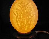 Calla Lily Hand Engraved Ostrich Egg Light