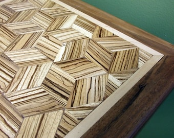 Hand crafted solid wood accent table - walnut, zebrawood, maple