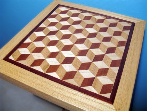 Handcrafted Accent Table - Solid Wood Table - Optical Illusion - Oak, Maple, Mahogany, Padouk - For the Home - Conversation Piece