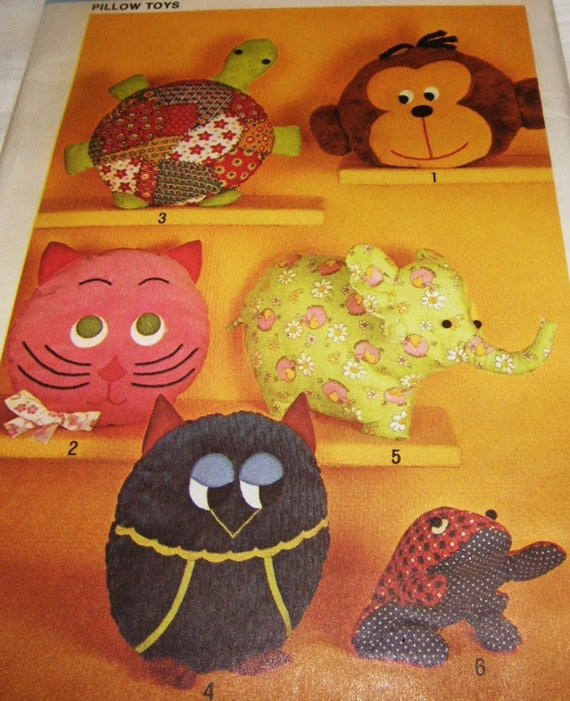 Animal Pillow That Turns Into Pajamas : Vintage Pattern sew 6 Animal Pillow Toys 4 Pajama Bags