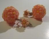 Peach Flower Cluster clip-on Earrings