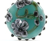 Watercolor Flowers Focal Lampwork Glass Bead