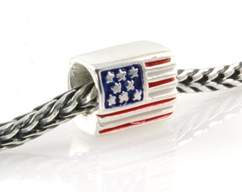 USA Flag Bead Sterling Silver and Enamel Big Hole Charm Bead X0226