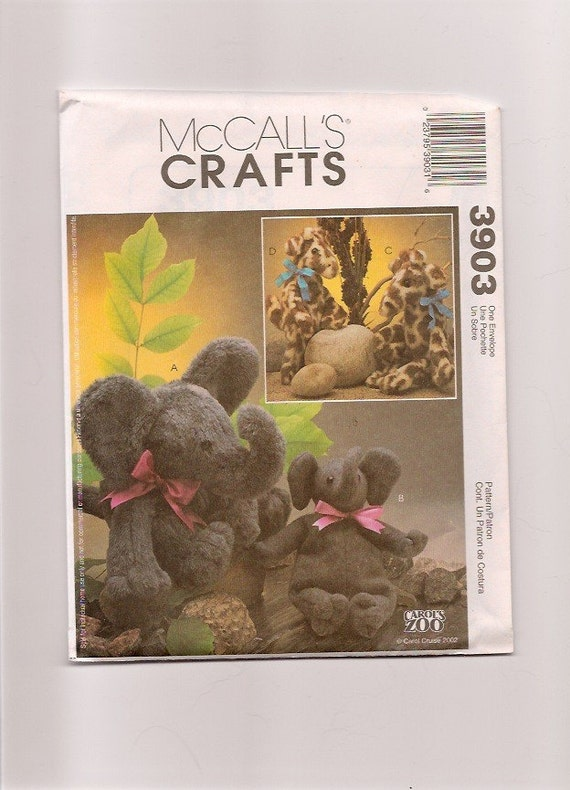 McCalls 3903 EASY Elephant and Giraffe pattern 2 sizes Out of Print