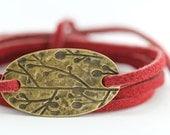Leather Charm Bracelet : Cranberry Splash. Tie On Bohemian Burgundy Red Leather Cord Wrap Bracelet with Antique Brass Oval Charm