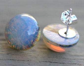 fake plugs, opal stud earrings, sterling silver plated, blue, pink, yellow, bohemian