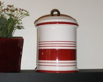 Ceramic red and white striped Jar with lid