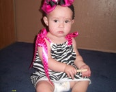 SALE Ready to Ship 12 Month Girly Girl Dress - Zebra N Pink With Bow