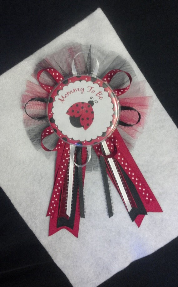 large mommy to be ladybug baby shower shirt pin