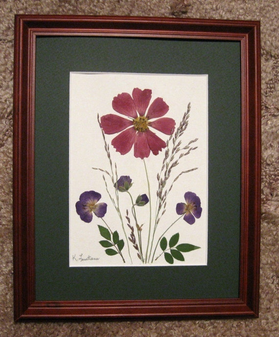 Pressed Flower Picture  No. 127 -  Unframed