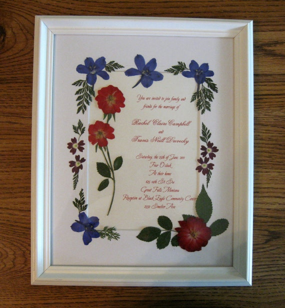 Pressed Wedding Flowers: Wedding Invitation Keepsake With Pressed By KTsPressedFlrArt