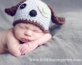 SCRAPPY PUPPY DOG Crochet Hat Baby Newborn 0 3 6 12 Months 1T 2T 3T 4T Child Teen Adult