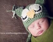 CROCHET OWL HAT Sage Green Baby Newborn 0 3 6 12 Months 1T 2T 3T 4T Child Teen Adult