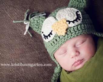 CROCHET OWL HAT Sage Green Baby Newborn 0 3 6 12 Months 1T 2T 3T 4T Child Teen Adult
