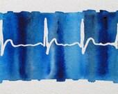 Normal Heartbeat Blue - original watercolor ekg painting