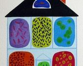 Full House - original watercolor painting - bacteria