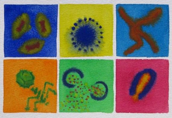 Virus Rainbow 11 - original watercolor painting