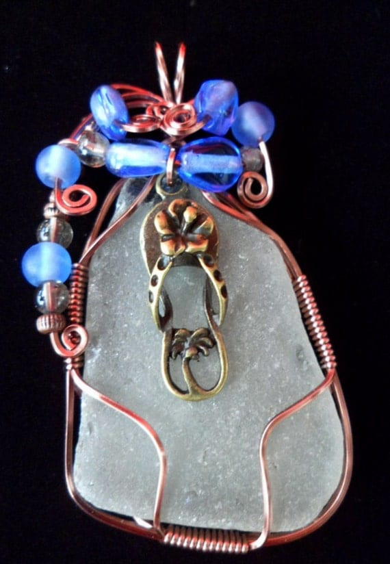 Wire Wrapped Authentic White Beach Glass Pendant with Flip Flop
