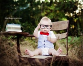 Bow Tie and Vest Onesie - Southern Gentleman - Boutique Baby Boy Clothes - Seersucker and Red Bowtie