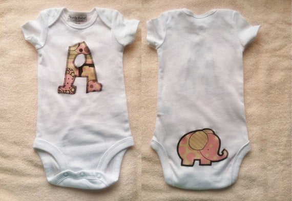 Baby Elephant Boutique Personalized Onesie - Pink or Blue - Infant Girl Boy Clothes