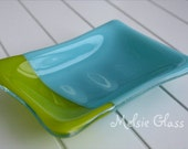 Turquoise & Green Slashed glass soap dish