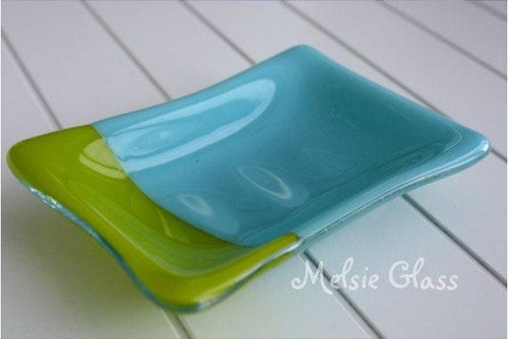 Turquoise & Green Slashed glass soap dish
