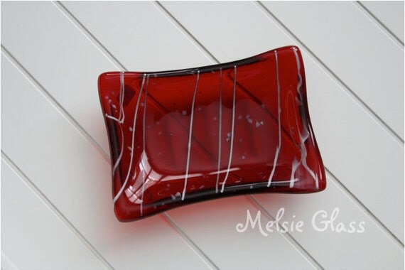 Red Glass Soap Dish with streaky white design