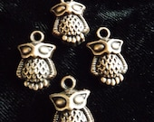 Antiqued Copper Owl Charms 4 Qty