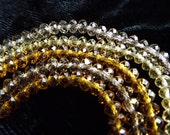 Amber and Yellow Tiny Faceted Rondelle Glass Beads 2x4mm
