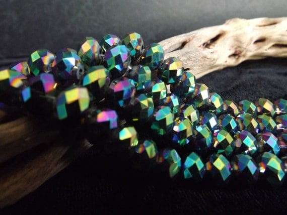 LAST ONE 5x8mm Metallic Teal Rainbow Faceted Glass Beads Qty 18