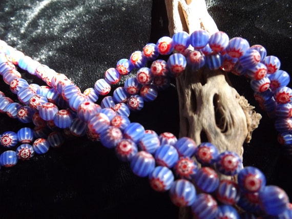 6mm Red, White and Blue Milefiori Beads rounds