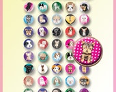 INSTANT DOWNLOAD : Sweets Dogs 1 inch circle Digital collage sheet 40 images for bottle caps and more