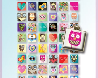INSTANT DOWNLOAD -Digital Owls Friends Collage Sheet-48 Beautiful images-1 inch square -Download and Print