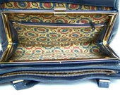 Vintage Navy Purse with the most Beautiful Paisley Interior Ever