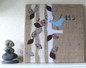 Blue Bird -- Burlap Art, 10 x 10 inch