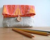 Linen Button Pouch -- Tangerine