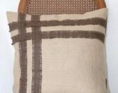 SALE Burlap pillow case with stripe design 18x18
